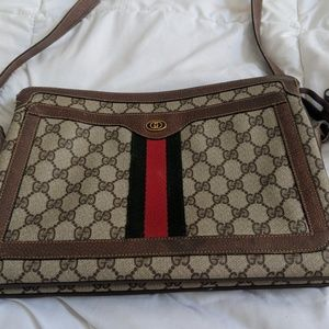 Vintage Gucci shoulder crossbody canvas bag
